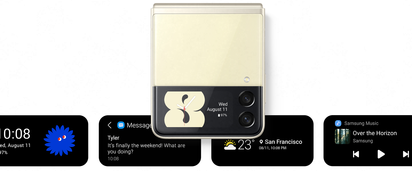 A cream 8 against a black background with analog watch hands. It pulls back into the shape of the Cover Screen on Galaxy Z Flip3 5G, and says Wed, August 11 and displays battery life at 97%. It settles into the Cover Screen, to demonstrate a display option. Other display options appear in the background, including a Messages notification from Tyler, the Weather in San Francisco and Samsung Music controls.