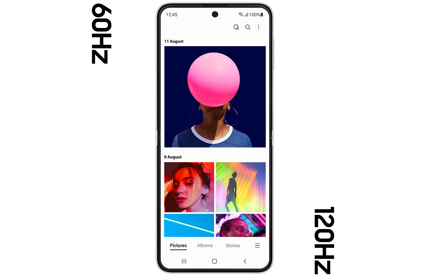 Galaxy Z Flip3 5G unfolded, showing the Gallery app onscreen, with several brightly colored photos onscreen. The screen is slightly blurry, demonstrating the lesser graphic quality of the 60Hz refresh rate. The screen changes to the 120Hz rate and the content onscreen is seen crisp and clear.